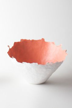 Color Burst Bowl - Peach - like a piece of sculptural art, this papier-mache bowl is made in America and would make a great wedding gift.