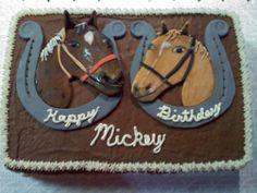 2 HORSES WITH HORSESHOES CAKE