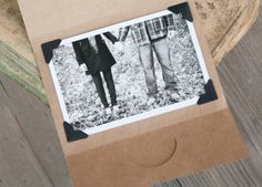brown paper + black and white photo