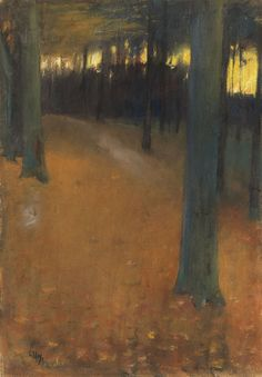 'Forest landscape in the evening light', 1890 - Lesser Ury