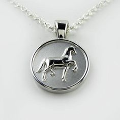 Pendant Antique silver tone Horse Necklace Christmas gift Jewellery