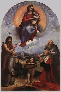 "Raphael (1483-1520) The Madonna of Foligno Oil on canvas 1511-1512 320 x 194 cm (125¾"" x 76¼"") Pinacoteca (Vatican, Holy See (Vatican City State))"