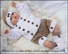 "Double Breasted Jacket Set 16-22"" doll/0-3m baby-knitting pattern, reborn, doll, baby, boy, babydoll handknit designs"