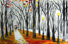 Foggy park - original oil painting