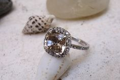 Unique Vintage Style Morganite Engagement Ring in Gold Diamond Wedding Band fine jewelry Halo diamond ring Gemstone Unusual engagement ring by SeaofLoveee on Etsy https://www.etsy.com/listing/239110528/unique-vintage-style-morganite