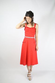 Lady-in-Red 70s Cotton Eyelet Sun Dress  #renewvintage