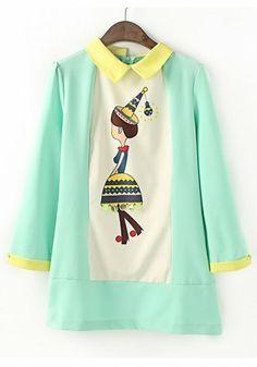 Green Color Block Girl Print Sequin Dacron Dress