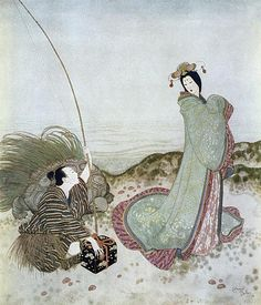 "Urashima was so enchanted that he could not speak a word (from 'Urashima Taro', a Japanese Fairy Tale). ""Edmund Dulac's Fairy-Book"" Edmund Dulac, Walter Crane, Art Vintage, Art Japonais, Art Nouveau, Fairytale Art, Art Et Illustration, Book Illustrations, Ex Libris"