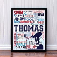 Competitive Swim Poster - Personalized Boys Swim Decor - Swim Team Prints - Sport Typography Print - Boys Decor - Swimmer Decor – PrintChicks