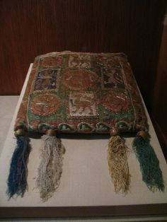 1300s, France. Pouch (Forel). Silk and metal thread on canvas. Currently in the met, part of the Cloisters collection.