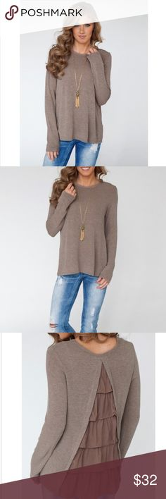 """LAST HP  LT BROWN SLEEVE T WITH RUFFLES Super cute top! Jazz up those jeans. Round neck. Long sleeve. The material is polyester and cotton blend. Bust 37.5"""". Sleeve 24.5"""". Length 27"""". Add a nice long necklace with this from my closet to complete your look. Color as pictured. -No trades. 51twenty Tops Tees - Long Sleeve"""