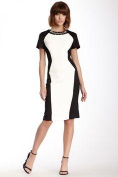 ECI Jewel Neck Colorblock Scuba Midi Dress