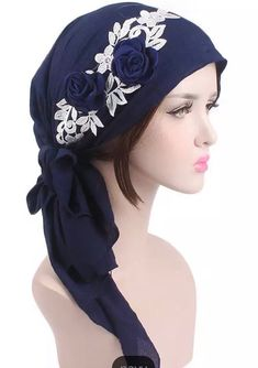 f1739f0def7 Navy blue with flowers head cap turban Hijab beanie chemo hat scarf by  AyahSCollections on Etsy