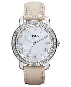 Fossil Watch, Women's Emma Winter White Leather Strap 38mm ES3189 - Fossil - Jewelry & Watches - Macy's