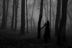 Woman black white spooky ethereal solitary goth gothic mysterious forest nature haunting atmospheric
