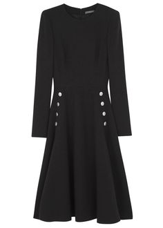 Alexander McQueen black wool crepe dress Padded shoulders, button fastening front pockets, flared skirt, fully lined Concealed zip and hook fastenings at back