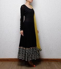Black Cotton Anarkali Suit