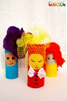 Happy International Women's Day - Toilet Paper Roll Girls with tissue paper, fruit bag net, yarn and more... - Coocoolo