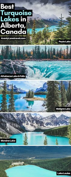 Incredible turquoise blue lakes in Alberta, Canada! Melting glaciers may create some very cold water, but the combination of light refracting of rock flour ground up by the glaciers creates the brilliant emerald glow of these lakes. Some of these lakes i Moraine Lake, Lac Moraine, Lake Moraine Canada, Cool Places To Visit, Places To Travel, Travel Destinations, Places To Go, Alberta Canada, Ottawa