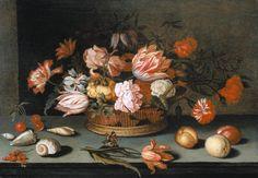 Titolo dell'immagine : Balthasar van der Ast - Natura morta con fiori, frutta, conchiglie e farfalle