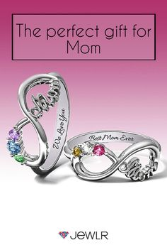 Show Mom just how special she is with a personalized infinity ring, custom made just for her with the birthstones of her children. Available in silver, white gold, yellow gold and rose gold. Add a heartfelt engraving for an special finish. Free shipping, free resizing, free returns and free gift packaging on Jewlr.com.