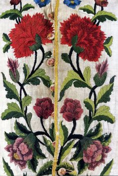 Embroidery detail, Front of a Gentleman's Crewelwork Waistcoat, England, 1735-1745.