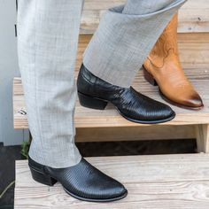 The Nolan is a handmade cowboy boot, crafted from supple lizard leather, featuring a calfskin shaft, leather sole & heel, and single-piece vamps and counters. Suit With Cowboy Boots, Cowboy Boot Outfits, Western Boots For Men, Cowboy Shoes, 70s Fashion Men, Fashion Boots, Country Fashion, Cool Boots, Men's Boots
