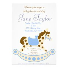 Blue Rocking Horse Baby Shower Invitations