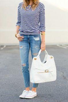 - striped shirt - ripped jeans - converse sneaks - sans white bag -