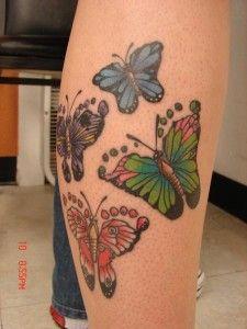 Her Kids Footprints As Butterfly Wings