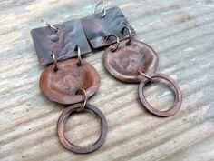 The Metal Sculptor's Scrap  Reclaimed Copper Earrings by JanePlain