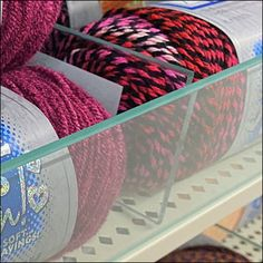 Retail Fixtures, Store Fixtures, Yarn Organization, Shelf Dividers, Fabric Display, Glass Fence, I Love This Yarn, Yarn Store, Fencing