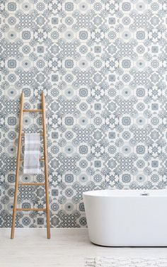 Inject personality and creative flair to your wall with this light grey portuguese tile wallpaper, an eye-catching design. Rustic Wallpaper, Bathroom Wallpaper, Textured Wallpaper, New Bathroom Ideas, Bathroom Inspiration, Home Design Blogs, Wooden Textures, Faux Brick, Chic Bathrooms