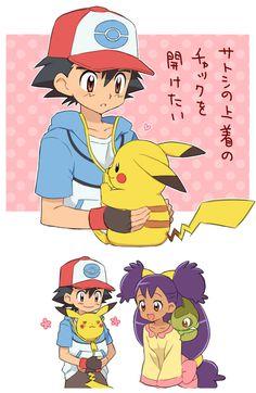 Ash/Satoshi (Pokémon), Pikachu, Iris (Pokémon), Axew (by おこのみ, Pixiv Id 6953046)
