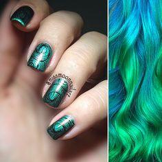 Green Pastel @guy_tang hair @missmoonnailart nails #pastelhair #pastelnails #nailartdesign #nailart #hairpattern #green #nails #nailstamping #opitopcoat #allaboutnailsofficial #hmnailpolish #mondays #nordiccolors #fashion #newweek #newchallenge