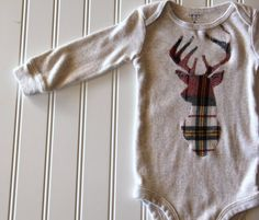 Plaid Deer Bodysuit Ready to Ship Hunting Baby by mylittlemookie, $24.00
