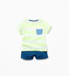 Striped set with pocket