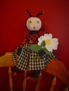 Primitive Dolls E-PATTERN Flowers, Lady Bug