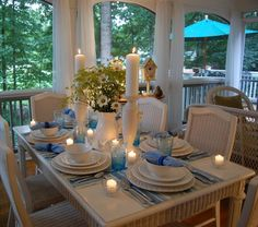 Simple - Warm Blue lovely for those Winter evenings!  Tablescape (By Between Naps on the Porch)