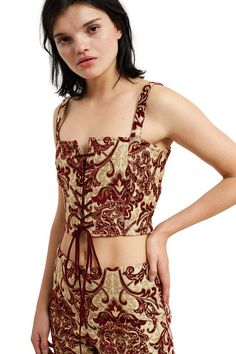 fa41177f27 Callipygian Red Brocade Corset Top Opening Ceremony