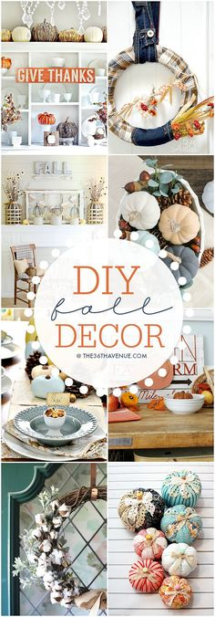 I am loving all of the DIY fall decor ideas! So cozy! Autumn Crafts, Thanksgiving Crafts, Thanksgiving Decorations, Holiday Crafts, Vintage Thanksgiving, Thanksgiving Celebration, Seasonal Decor, Fall Projects, Cool Diy Projects