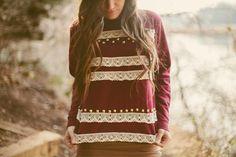 DIY Lace + Studded Sweatshirt