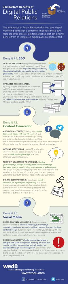 The creator of this infographic makes the point that PR today can be very useful to marketing. In the Digital PR realm PR content can integrate well with the overall marketing goals. But don't lose sight of the fact that there are just as many core PR functions that benefit from Digital PR skills: brand awareness, relationships with influencers and reputation and crisis management.