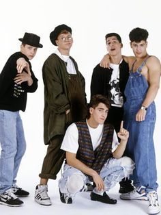 """new kids on the block-who told Jordan he looked hot in that?! Was THAT even an """"in"""" thing back in the day for guys???? They looky good now, better actually now that they're grown!! LoL"""