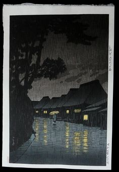 Hasui - Rainy Night at Maekawa