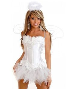 Sexy White Angel Costume with Halo and Wings Angel And Devil Costume, Angel Wings Costume, Sexy Pirate Costume, Viking Costume, Daisy Costume, Angel Halloween Costumes, Halloween Ideas, Halloween 2015, Halloween Decorations
