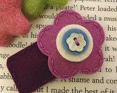 KEINE SLIP Wollfilz Haar clip - Orchidee Blume und Vorbau-Mini - rot-lila