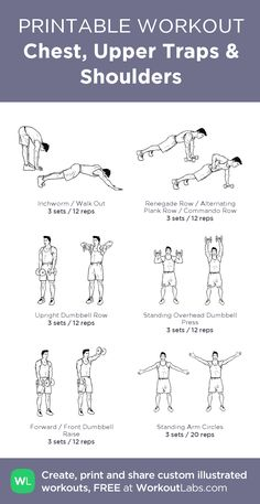 Chest, Upper Traps & Shoulders:my visual workout created at WorkoutLabs.com • Click through to customize and download as a FREE PDF! #customworkout