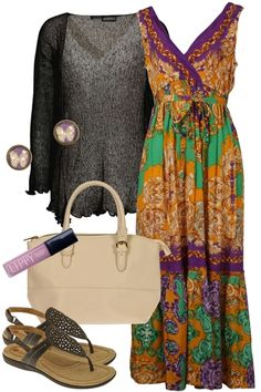 birdsnest #Outfit of the Day for Monday, 5th November, 2012. Dress yourself in colour this spring with an amazing long lasting print. Wear with a dark coloured shrug to make the colour pop and pair with light shades of purple and black accessories.