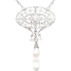 An Edwardian platinum, diamond and natural pearl pendant/necklace. The pendant is composed of 51 old European-cut diamonds with an approx total weight of 4.95 carats, 1 freshwater pearl drop and 3 natural pearls. The newer platinum neck chain has 52 round cut diamonds that are chain linked and collet set with the approx total weight of 7.80 carats.